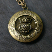 Owl Locket Necklace in Antique Brass by robinhoodcouture on Etsy