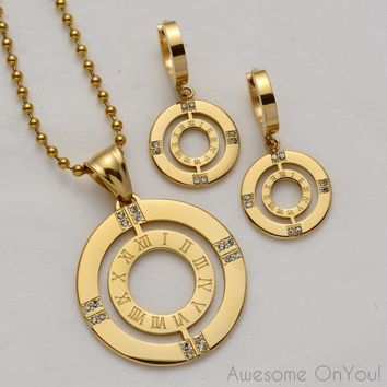 Roman Numeral ~ Necklace & Earrings Set