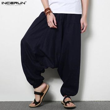 Men's Large Crotch Harem Pants Plus Size 5XL elastic Pants Men Dancing Trousers Loose Boho harem Pants Cotton Linen Joggers Man