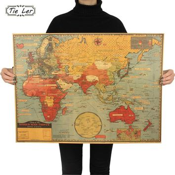 Large World Geography Map Wall Sticker Art Bedroom Home Decoration Poster