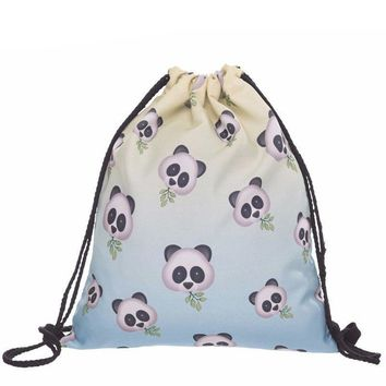 Panda Faces Drawstring Bags Cinch String Backpack Funny Funky Cute Novelty