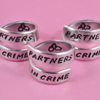 Partners in Crime - Spiral Rings Set (3 rings), Hand Stamped Aluminum Rings, Friendship Rings, BFF Gift, Handwritten Font, V2