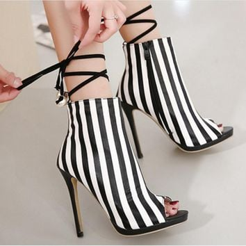 Stripes Peep-toe Short Boot Stiletto High Heels Sandals