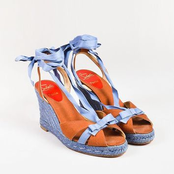 MDIGU2C Christian Louboutin Blue Cognac Canvas Bow Strappy Espadrille Wedges