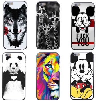 Funny bad Mickey Mouse lions giraffes panda Wolf Rose Hard Case Cover For iPhone 4 4S 5 5S SE 5C 6 6S Plus 7 XR XS Max 8 8Plus X