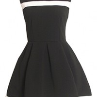 Black White Textured Skater Dress - OASAP.com