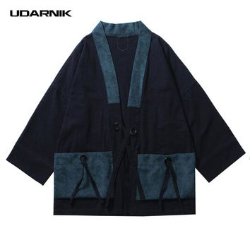 Trendy Men Cotton Linen Coat Japanese Style Kimono Loose Vintage Jacket Streetwear Clothes Three Quarter Sleeve Black Blue New 914-143 AT_94_13