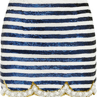 Ashish - Embellished silk-georgette mini skirt