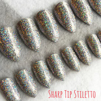Silver Glitter Holo Fake Nails * Faux Nails * Glue On Nails * Stiletto Nails * Glitter Nails * Holographic Nails