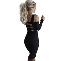 vestidos Sexy Club Dress Women Black Offer Shoulder Bodycon Dress Gray Cotton Slash Neck Elegant Office Party Autumn Dress