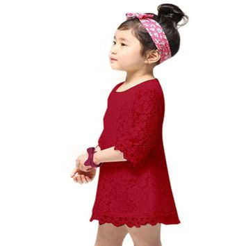 2015 new Hot Selling Girls Kids Fashion  toddler dress Princess Party Lace Half Sleeve Dress Clothes children party dress girls