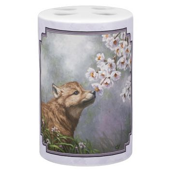 Wolf Pup and Flowers Bathroom Sets
