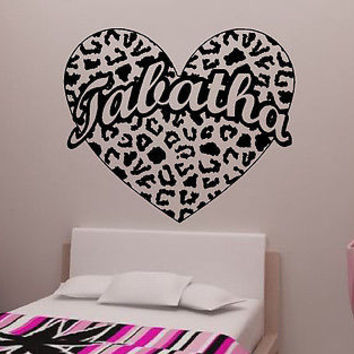 Cheetah Spot Heart with Custom Text Vinyl Wall Decal Sticker Cheetah Print
