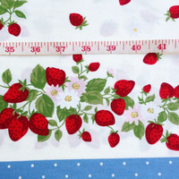 Strawberry Vine, Red Strawberry Bunch White daisy and Blue dot fabric, Girl Dress, Kitchen Curtain, Fresh Fruit in the garden, summer, CT072