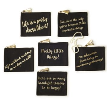 Graphic Glitter Pouch - Assorted Sayings