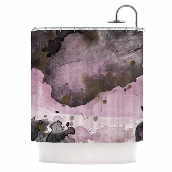 Pink and Black - Pink Black Abstract Watercolor Shower Curtain