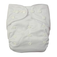 Alva Double Rrows of Snaps Fitted Pocket Washable Adjustable Cloth Diaper with 2 Inserts Neutral Color (White) B09