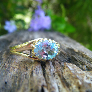 Blue topaz gold ring, topaz alternative engagement, turquoise aqua sky blue cocktail ring, conflict free, recycled gold, size 7 8 9 10 11