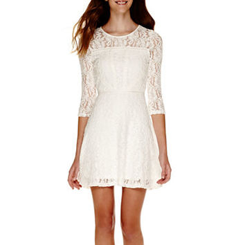 Fire 3 4 Sleeve Lace Fit And Flare Dress