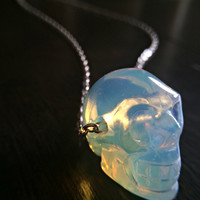 Crystal Skull Necklace Opalite Necklace Human Skull Opal Necklace Moonstone Gypsy Necklace Gothic Jewelry Witchy Necklace Bohemian
