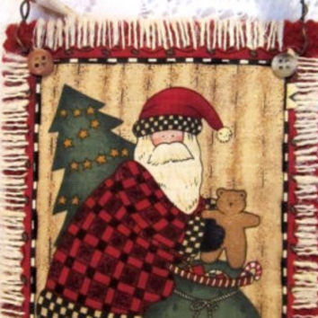Santa Claus Ornament, Christmas, Wall Hanging, Country Folk Art, Old World
