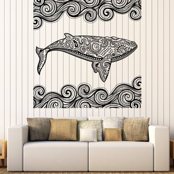 Large Wall Vinyl Decal Sticker Ocean Whale Decorative Tribal Ornaments n995
