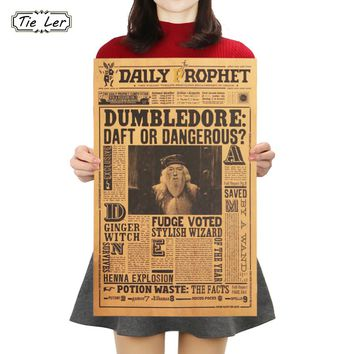 TIE LER Classic Movie Kraft Paper Poster Harry Potter Albus Dumbledore Wall Sticker Bar Cafe Decorative Painting 42.5X27cm