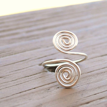 Adjustable Wire Wrapped Ring Non Tarnish Silver by KissMeKrafty