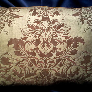 Fortuny Dandolo Plum & Silvery Gold Lumbar Throw Pillow Cushion Cover - Made in Italy