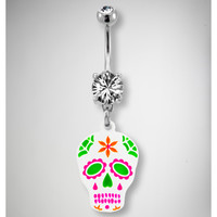 14 Gauge Pink & Green Skull Banana Belly Button Ring