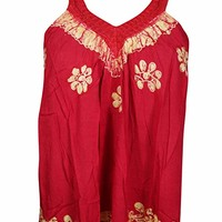 Mogul Interior Flora Women's Boho Tank Top Red Embroidered Sleeveless Blouse S/M: Amazon.ca: Clothing & Accessories