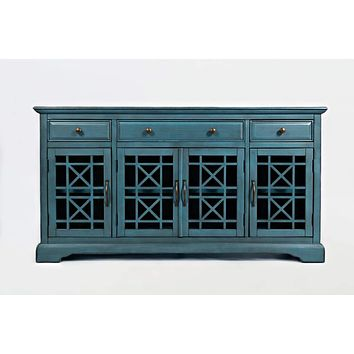 Craftmen Series 60 Inch Wooden Media Unit with 3 Drawers, Antique Blue By Benzara