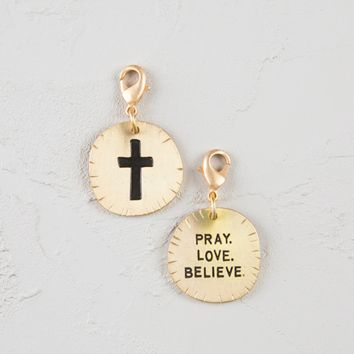 Natural Life Cross Pray. Love . Believe Junk Market Charm