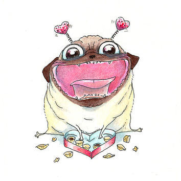 "Fat Pug Valentine Art Print - Cute & Funny Pug Dog Love Art 5x7"" Print from an original Ink and Watercolor by InkPug!"