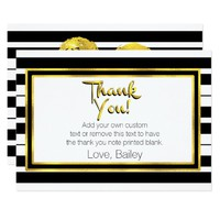 Gold, Black and White Striped Thank You Cards