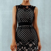 Iconic Moment Black Lace Sleeveless Round Neck Bandage Bodycon Mini Casual Dress