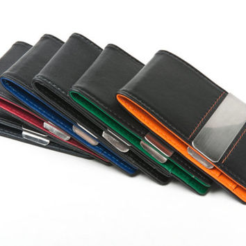 ON SALE and FREE Shipping In U.S. - Men's Bifold Leather Money Clip Wallet - Black & Gray. - Perfect for Father's Day, Birthdays, Etc.