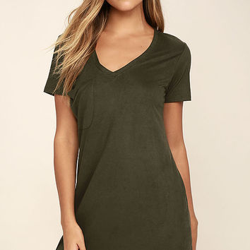 Modern Design Olive Green Suede Shirt Dress