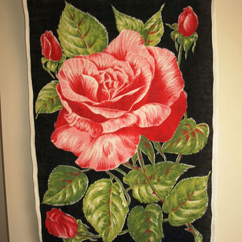 Vintage 50s or 60s Ulster Roses Shabby Chic Pure Linen Tea Towel - New Old Stock - Red and Pink Roses