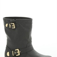 Flat Engineer Boot with Gold Plated Heel and Buckles