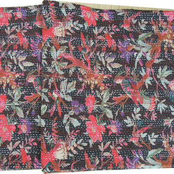 Black Indian Quilt -Kantha Quilt Quilted Bedspreads,Throws,Ralli,Gudari Handmade Tapestery REVERSIBLE Bedding