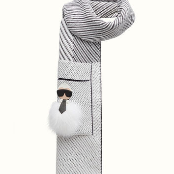 in embroidered cashmere and wool - KARLITO SCARF | Fendi | Fendi Online Store