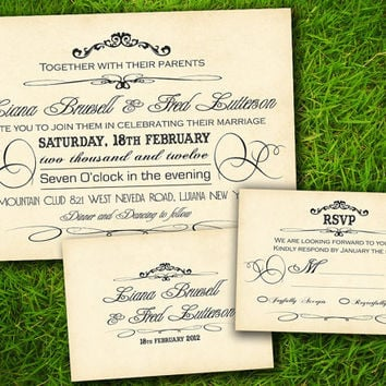 Vintage Rustic Elegant Victorian Old Fashioned Customizable Wedding Invitation Card - DIY Printable