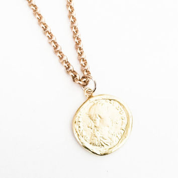 Gold Greek Coin Charm Necklace Vintage Style Coin Jewelry Rolo Chain Layering Free USA Shipping