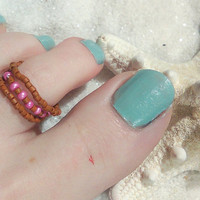 Beaded Toe Ring-Stackable-Brown and Pink-Free Shipping-Foot Accessories -Foot Jewelry -Toe Rings- Gifts Under 10-Get one Free