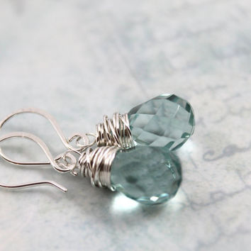 20 Colors to Choose from, All Sterling Silver Earrings, Everyday Jewelry, Aquamarine Earrings, Dangle Earrings, Quartz Jewelry
