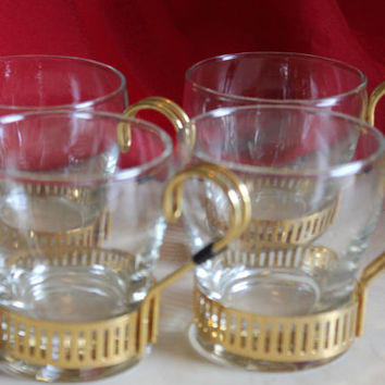 A Set of 4 Libbey Greek Key Design Mid Century Modern Art Deco Style Glass and Metal Coffee Cups