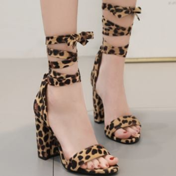 The new sexy cross-strap leopard print sandals are selling well