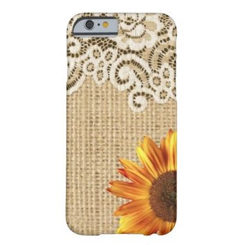girly sunflower burlap and lace modern country barely there iPhone 6 case