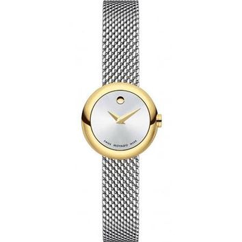 Movado Silver Dial Stainless Steel Mesh Ladies Watch 0606779